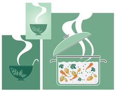 Cooking vegetables Stock Illustration