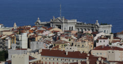 Ultra HD 4K Aerial View Monaco Ville Skyline Oceanography Museum, Oceanographic Stock Footage
