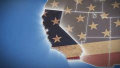 Stock Video Footage of USA map, California pull out, all states available, click for HD
