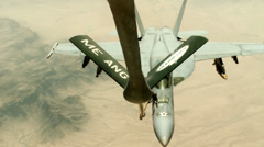 F/A-18C Air Refueling Over Afghanistan Stock Footage