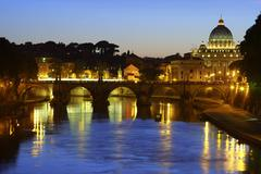 Night View over Vatican City and Tiber River Stock Photos