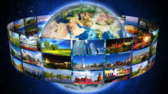 Global travel concept, videos of world landmarks rotating around the Earth. Stock Footage