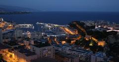 Ultra HD 4K Illuminated Dusk Night Light Monaco Skyline Monaco-Ville Monte Carlo Stock Footage