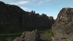Dramatic fault and rock structure at thingvellir ( Þingvellir) , iceland. - stock footage
