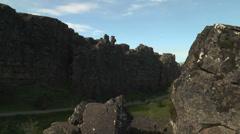 Dramatic fault and rock structure at thingvellir ( Þingvellir) , iceland. Stock Footage
