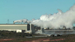 Geothermal power plant at gunnuvher on southern peninsula of iceland medium shot Stock Footage
