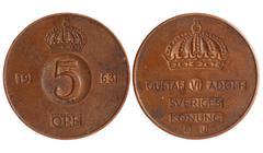 Antique coin of sweden 1921 year Stock Photos