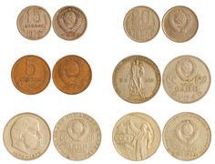 coins of ussr 1965-91 years - stock photo