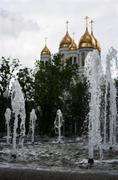 Jet city fountain on summer day Stock Photos