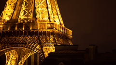 Closeup of the eiffel tower in paris france at night Stock Footage