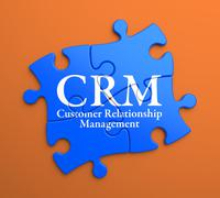 CRM on Blue Puzzle Pieces. Business Concept. - stock illustration