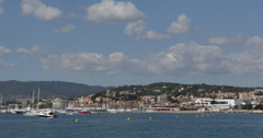 Ultra HD 4K Cannes Skyline, Iconic Festival Palace, Yachts Sailboats, Croisette Stock Footage