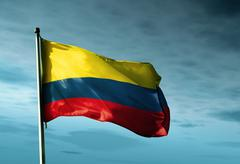 Colombia flag waving in the evening Stock Illustration