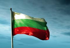 Bulgaria flag waving in the evening Stock Illustration