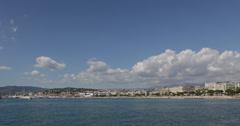 Ultra HD 4K Cannes water Mediterranean Sea Croisette Miramar Martinez Hotels day Stock Footage