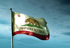 california (usa) flag waving in the evening - stock illustration