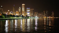 Chicago Night Skyline Stock Footage
