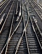 railroad junction - stock photo