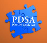 PDSA on Blue Puzzle Pieces. Business Concept. - stock illustration