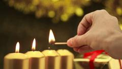 Focusing out of burning christmas candles Stock Footage