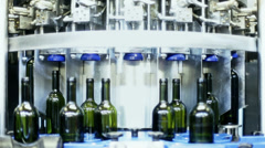 0042 Industrial line for bottling wine Stock Footage
