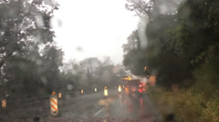 Driving Hard Rain 3643 Stock Footage