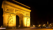 Stock Video Footage of arc du triomphe at night, paris france
