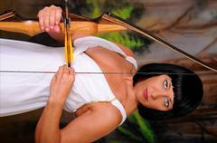 lovely greek goddess archer - stock photo