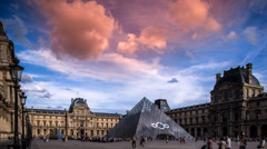 Louvre museum, paris france Stock Footage