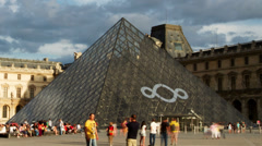 The louvre museum, paris france Stock Footage