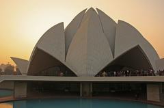 lotus temple at sunset, new delhi - stock photo