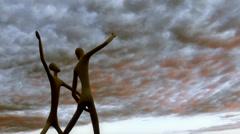 Aliens Dancing under Strange Sky Stock Footage