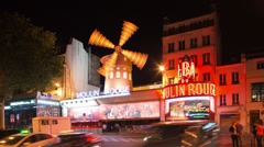 Stock Video Footage of moulin rouge, paris france, nightlife