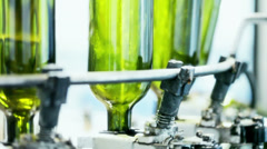 0044 Industrial line for bottling wine Stock Footage