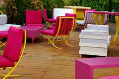 outdoor and garden furniture on the deck. - stock photo