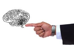 hand pointing to smart brain - stock photo