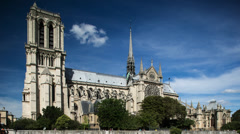Notre dame cathedral timelapse on sunny day paris france Stock Footage
