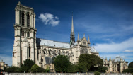 Stock Video Footage of notre dame cathedral timelapse on sunny day paris france
