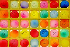 Multicolored balloons shooting target  background. Stock Photos