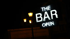 Neon lights Bar is Open sign Stock Footage