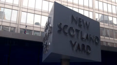 New Scotland Yard Revolving Sign Stock Footage