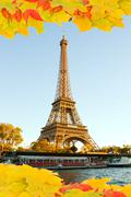 eiffel tour  in fall,  paris - stock illustration