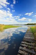 Summer's lake scenery with wooden bridge Stock Photos