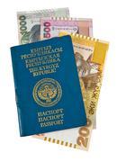 kyrgyz passport and money, isolated on white background - stock photo