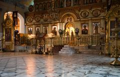 Interior of russian orthodox church Stock Photos