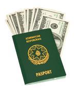 Azerbaijan  passport and money isolated on white background Stock Photos