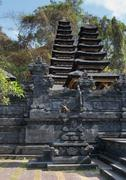 traditional temple balinese many tier palm roof - stock photo