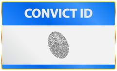 Convict Identification Card With Fingerprint Registration - stock illustration