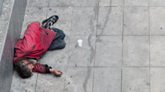Homeless in a metro station Stock Footage