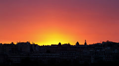 Vivid sunset over paris, france Stock Footage